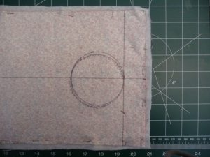 Guidelines and circle for hole placement Easy Phone Charger Holder (a project review by Sewn By Tanya)