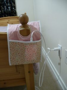 Easy Phone Charger Holder in use (a project review by Sewn By Tanya)