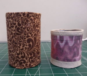 Slip tube over cans for fabric can cover (Sewn By Tanya Sewing Tutorial)