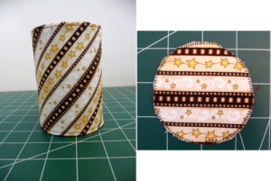 Diagnocal stripped fabric covered can (left) and horizongal strippedcan insert (right) on a green background