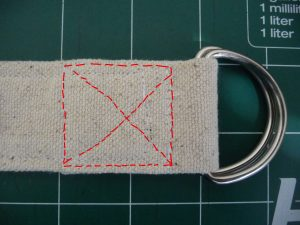 "Sewn By Tanya Sewing Tutorial: No-Webbing Yoga Strap | secure D-rings by sewing square & ""X"""