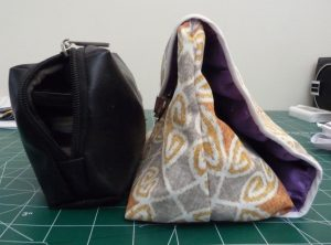 Side views of 2 cosmetic bags | Sewn By Tanya sewing tutorial