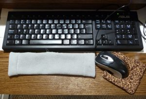Completed keyboard and mice rests beside and keyboard and mouse