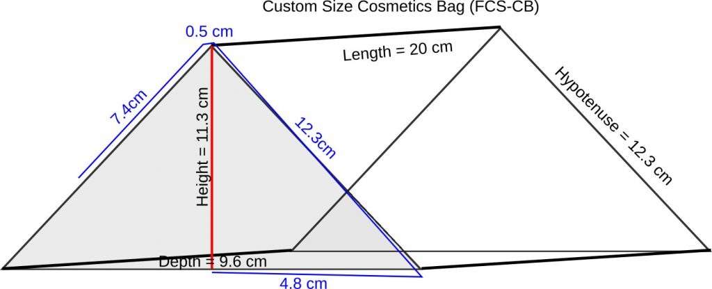 Line drawing of the customized bag indicating the Brush Roll/Bag Flap (blue)