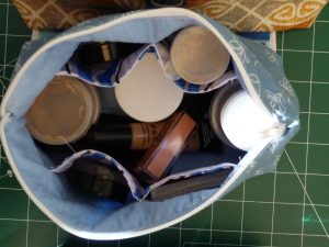Top view of open makeup bag