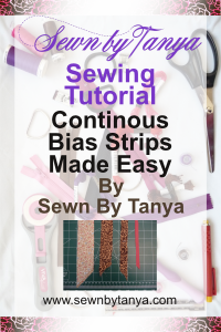 Pinterest image for Sewn By Tanya Sewing Tutorial: Continuous Bias Strips Made Easy
