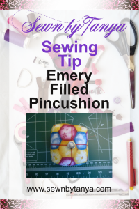 Pinterest Image for Sewn By Tanya Sewing Tip; Emery Filled Pincushion