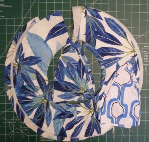 Blue tropical print fabric cut for a sun hat