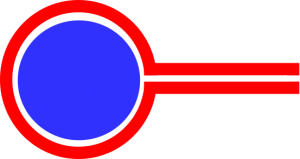 blue circle wita red outline and 2 horizontal red bars illustrating cross section of piping