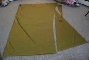 Khaki silnylon on a grey carpet