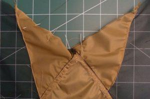 Closeup of rear peak shwoing khaki silnylon triangles
