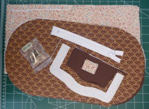 Brown and floral fabrics for wallet