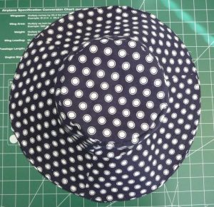 Top view finished sun hat (navy blue with white dots) on a green background