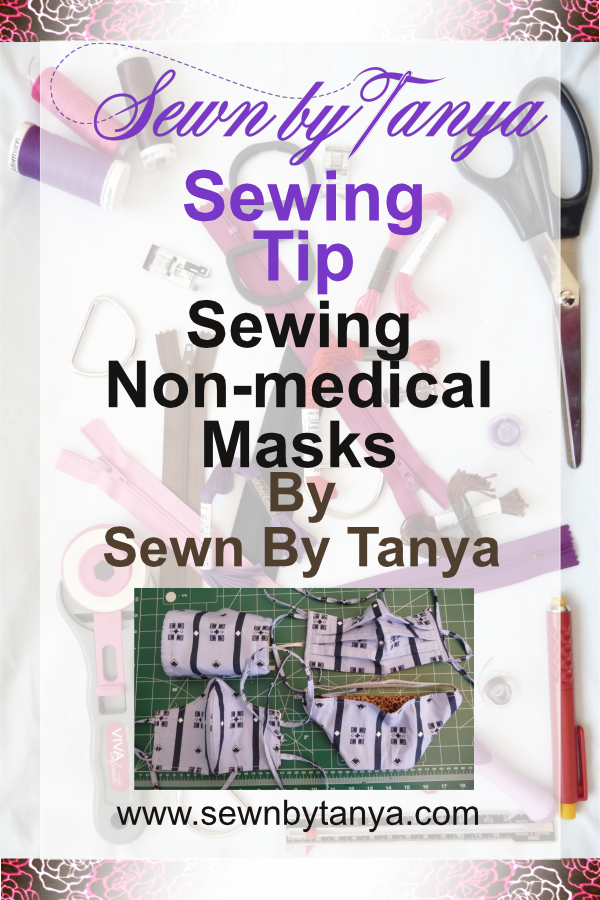 """PInterest Image for """"Sewn by Tanya Sewing Tip: Sewing Non-medical Masks: rectangular mas, pleated rectangular mask, form-fitted mask, and duck-billed mask"""