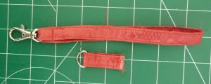 Red strap (top) and strap anchor (bottom) on a green background