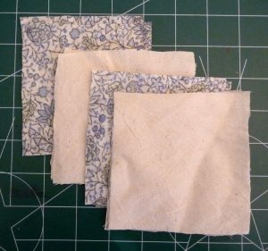 4 squares of overlapping fabric for handwarmers