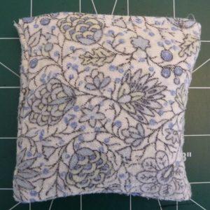 blue floral hand warmer exterior after filling