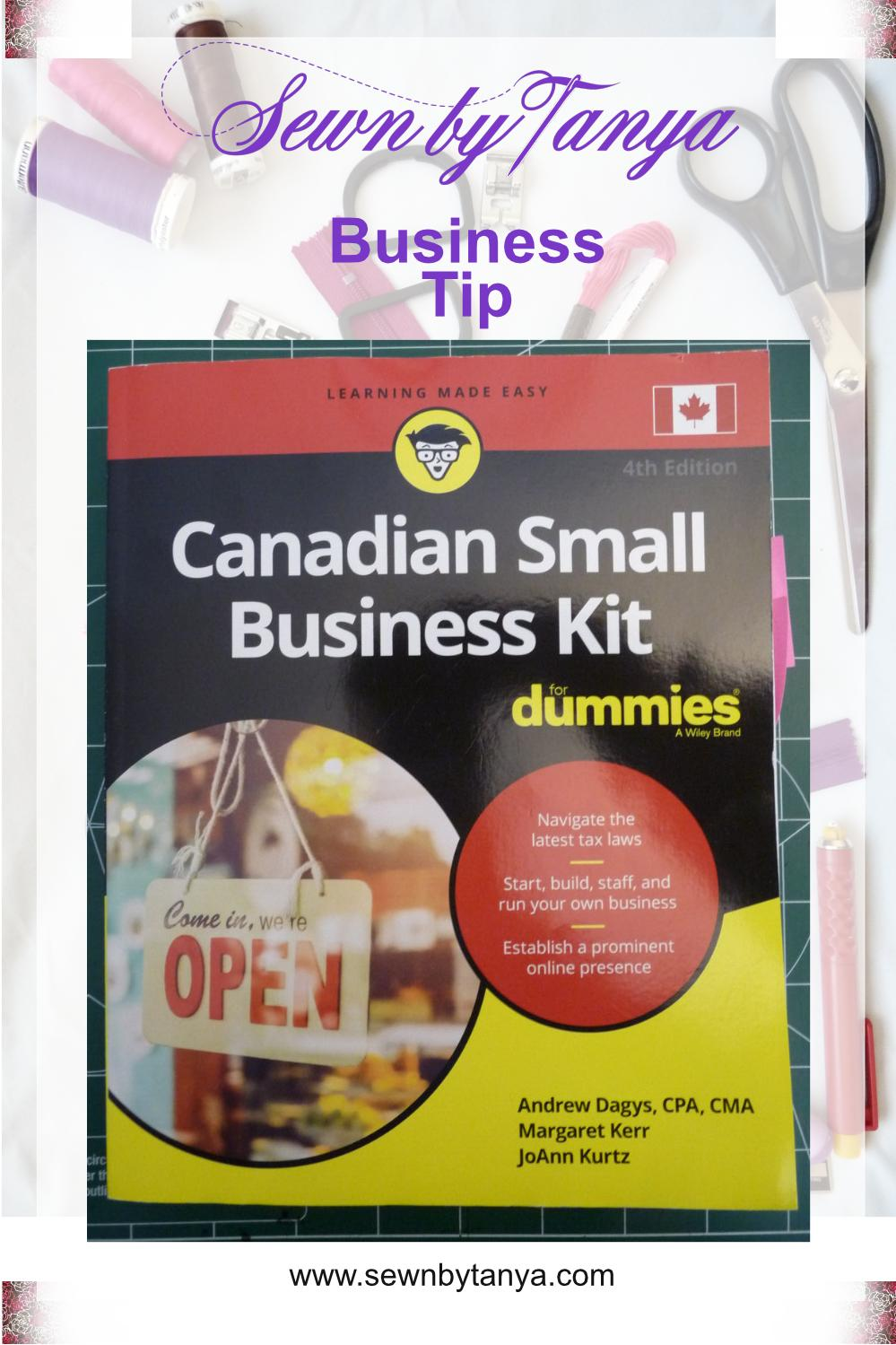 """PInterest image for """"Canadian Small Business Kit For Dummines Book Review by Sewn By Tanya"""""""