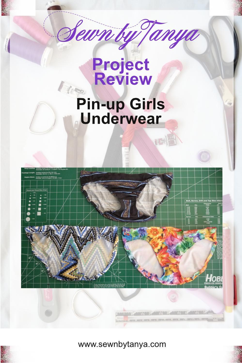 Black stripped panties, multic-lored zigzag panties & floral panties on a green background