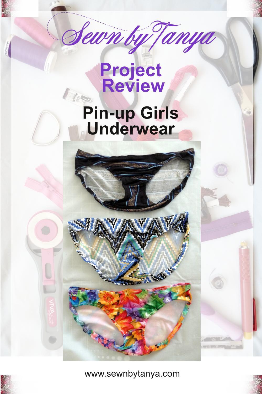 Black stripped panties, multic-lored zigzag panties & floral panties on a white background