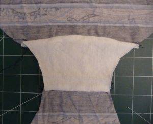 Close-up of white gusset sewn into baclk panties