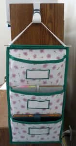 A5 Hanging Pocket Organizer (white with pink flowers & green trim) in use