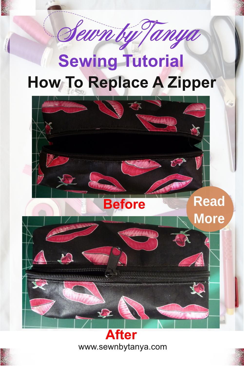 """Pinterest Image for """"Sewn by Tanya Sewing Tutorial: How to Replace A Zipper"""" with before and after photos"""