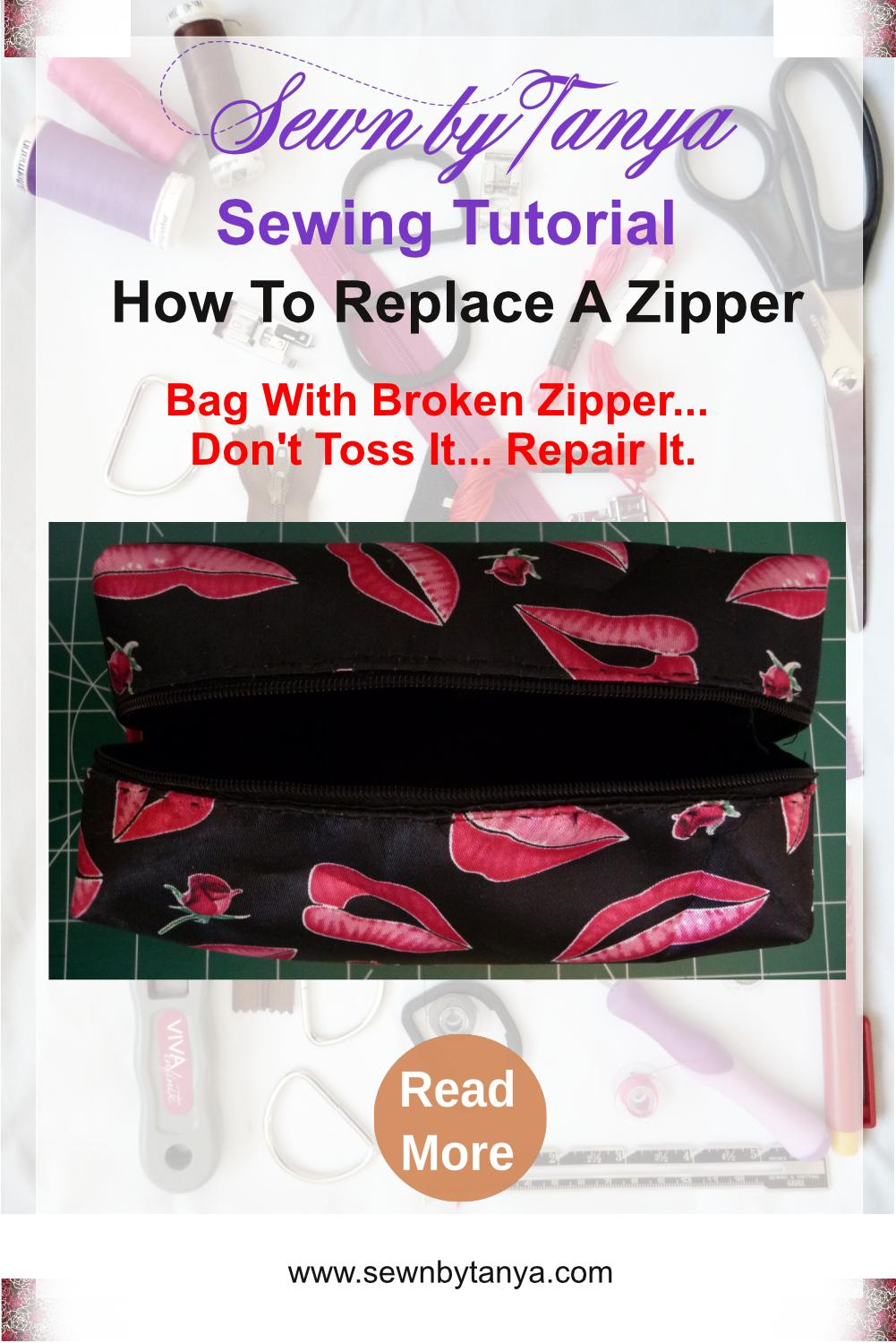 """Pinterst Image for """"Sewn By Tanya Sewing Tutorial: How To Replace A Zipper - Bag With A Broken Zipper... Don't Toss It.. Repair It"""" showing open black zippered pouch with pink lips pattern and black interior"""