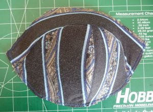 Black, blue and brown cotton lycra cover on a Maya Bra foam cup