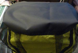 Close up of black backpack bottom