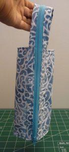 Blue & white swirled Zola Pen Case with blue zipper
