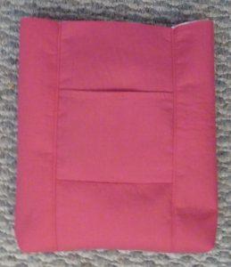 Pink bag interior on a grey background