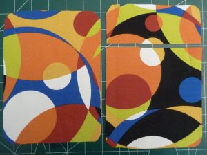 Multicolored back panel (left) and front panels (right) showing roundee corners