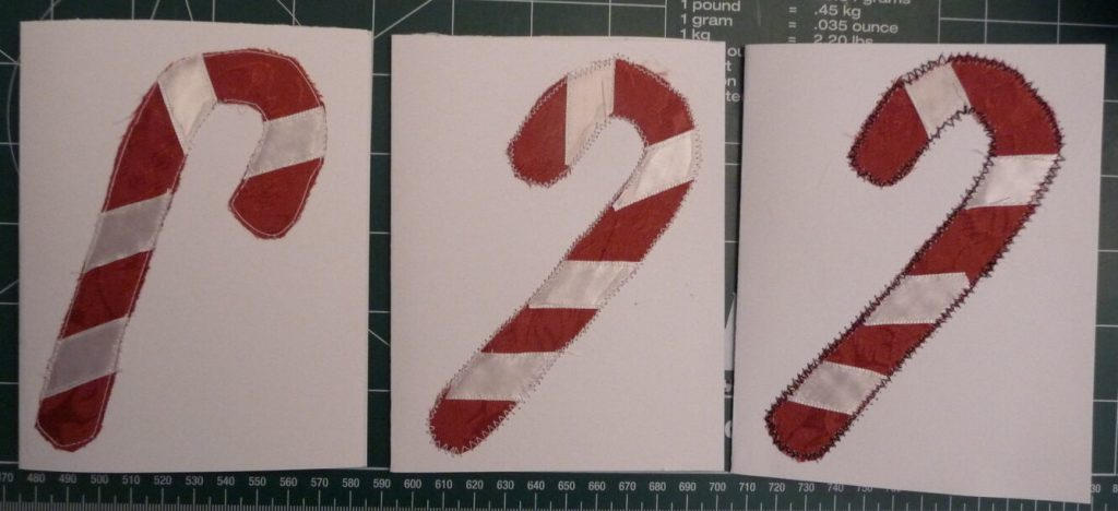 3 candycane themed cards