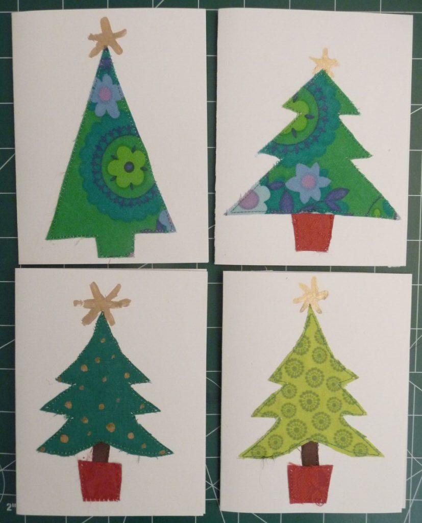 4 Christmas tree themed Christmas cards